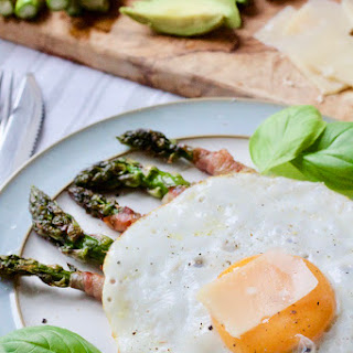 Pancetta Wrapped Asparagus Soldiers with Fried Egg.