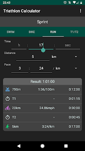 Triathlon Calculator: Pace for Swim/Bike/Run Screenshot