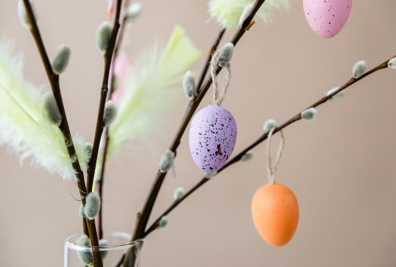 Traditional Finnish Easter willows and colorful eggs