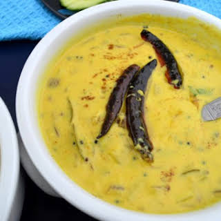Onion & Potato Kadhi with Rice - Curry with potatoes & onions.
