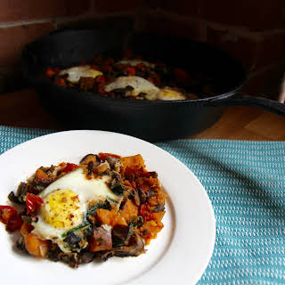Sweet Potato Egg Skillet with Spinach and Mushrooms.