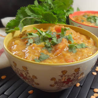 Slow Cooker Moroccan Spiced Red Lentil and Sweet Potato Stew.