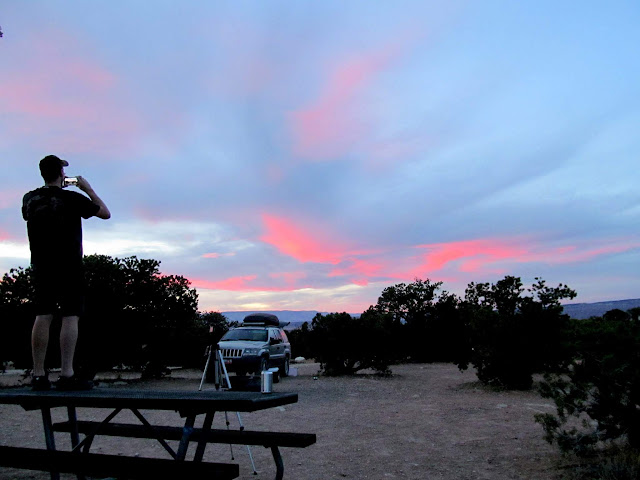 Pink clouds to the west