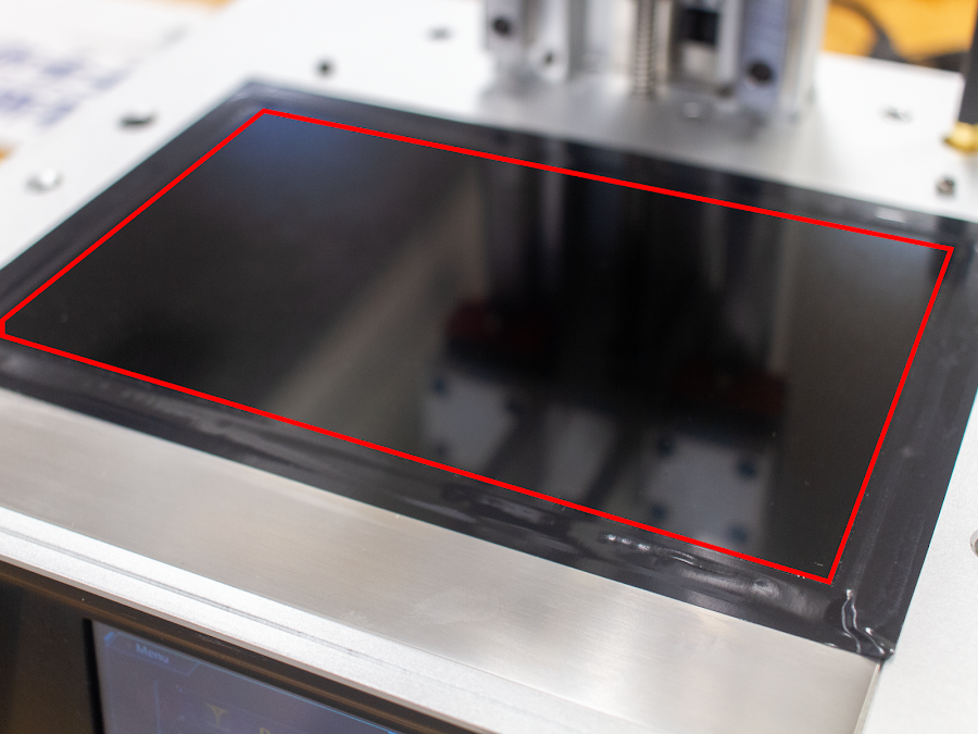 Make sure your LayerLock SLA sheet fits on your LCD Screen within the tape (outlined in red below)