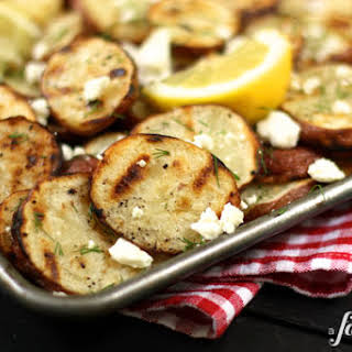 Grilled Red Potatoes with Lemon, Dill, & Feta.