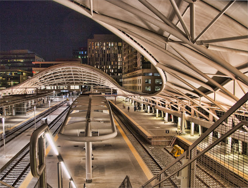 by Bill Dickson - Buildings & Architecture Architectural Detail ( night x srructures, denver x train station x arches,  )