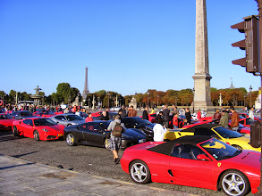 Photo: On the Place de la Concorde this final morning is a Ferrari get together which attracts a lot of interest.