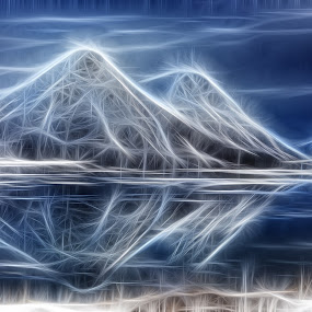 by Benny Høynes - Abstract Light Painting ( mountains, reflections, lake,  )