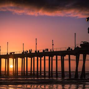 Pier by Tim Davies - Buildings & Architecture Bridges & Suspended Structures ( orange, magenta, red, cali, california, sunset, pier, beach, drama, huntington beach )