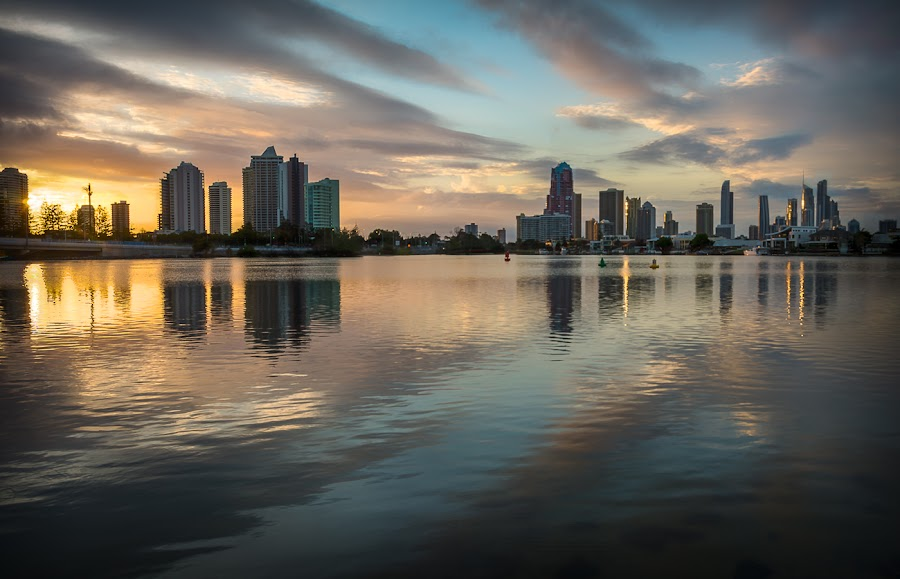 Southport view at Dawn by Daryl James - City,  Street & Park  Skylines ( water, dawn city fish hdr, sunrise )