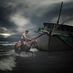 Horse Rider and The Abandoned Boat by Al Hilal - People Fine Art ( human interest )