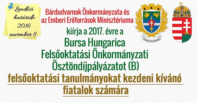 Bursa Hungarica pályázat - leendő felsőoktatási hallgatók 2017