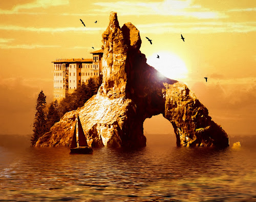 Monastery Island by Charlie Alolkoy - Illustration Places ( sunset, monastery, sea stack, ocean, island )