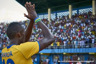 Photo: Ernest SUGIRA celebrates putting Rwanda 3-0 ahead.  [Rwanda v Mauritius, AFCON 2017 Qualifier, 29 March 2016 in Kigali, Rwanda.  Photo © Darren McKinstry 2016, www.XtraTimeSports.net]
