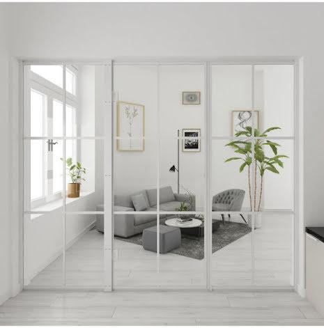 Industrivägg Dörr + 2 väggar vit