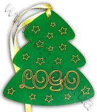 Photo: Игрушка на ёлку с логотипом компании. Лазерная резка по контуру, затирка краской золотистого цвета