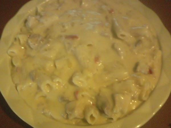 Stir in the pasta and chicken.
