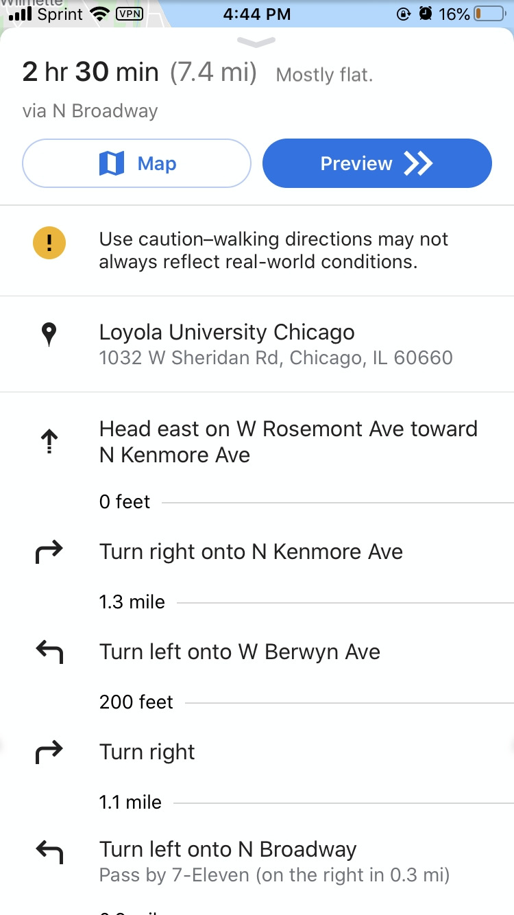 Screenshot of Google Maps direction page list view