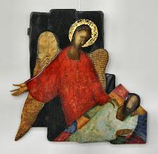 Photo: De engel waarschwut Jozef - Expositie van Iconen van Wasili Wasin in de Grote of Barbarakerk te Culemborg van 8 april tot en met 15 mei