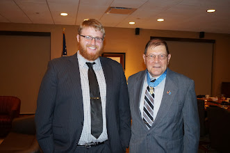 Photo: Student President Max Hutchison and Medla of Honor Recipient Hal Fritz