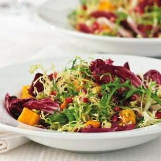 Winter Salad with Roasted Squash & Pomegranate Vinaigrette.