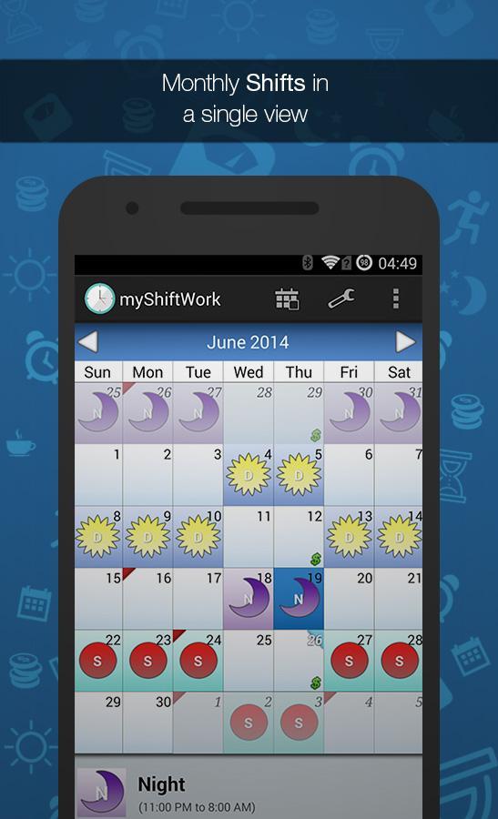 Shift Work Scheduling Calendar Screenshot