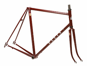 """Photo: Gerry chose my Burgundy """"Domestique"""" finish along with white and black decals for his Strada SLX.  For extra authenticity, he sourced some original Columbus SLX decals as well!"""