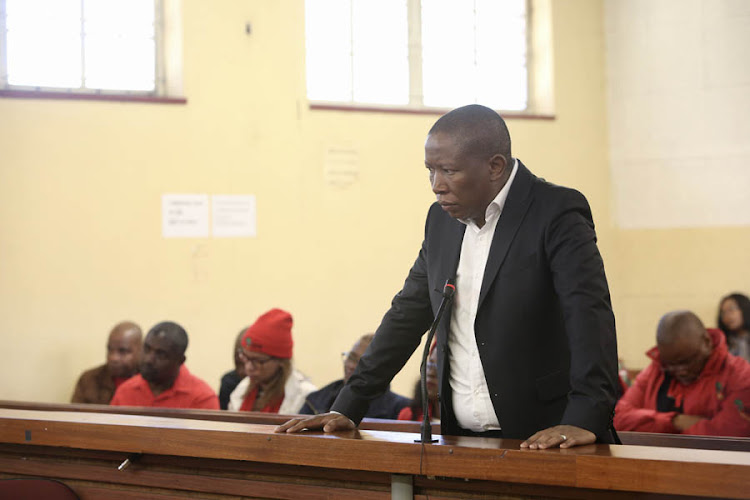EFF leader Julius Malema stands in the dock in The Newcastle Magistrates court on charges of incitement on June 25 2018. He is due back in court on Monday.