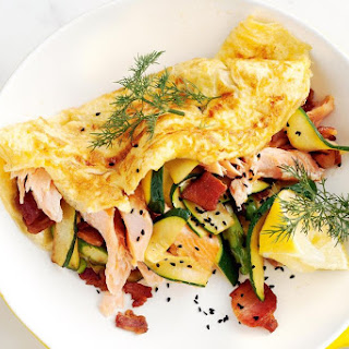 Ricotta Omelettes With Bacon, Hot-smoked Salmon And Zucchini.