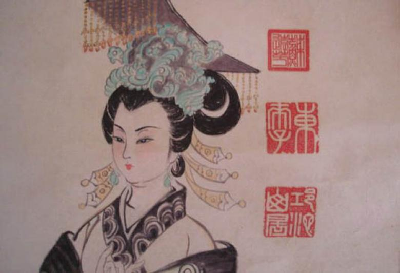 Wu as a young woman, as depicted in a much later painting