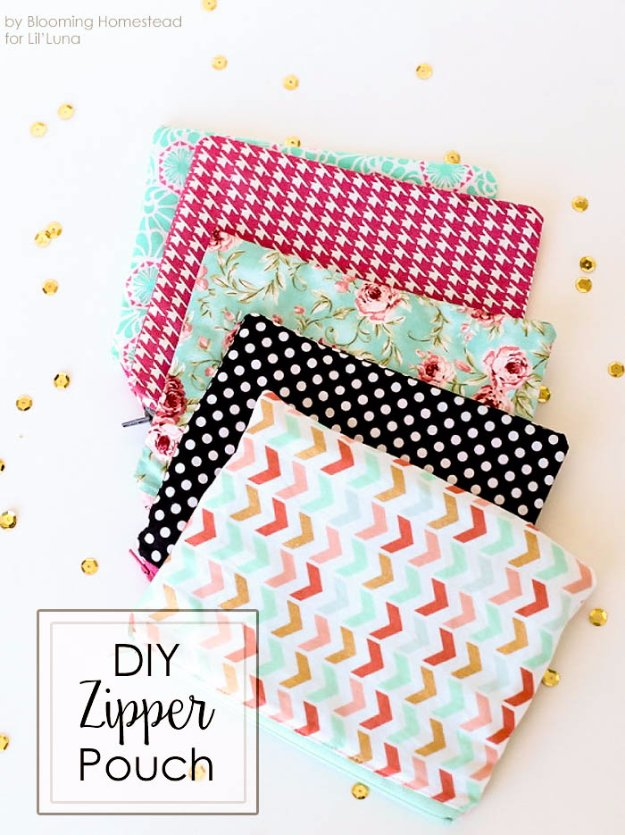 Easy Sewing Projects to Sell - DIY Zipper Pouch - DIY Sewing Ideas for Your Craft Business. Make Money with these Simple Gift Ideas, Free Patterns #sewing #crafts