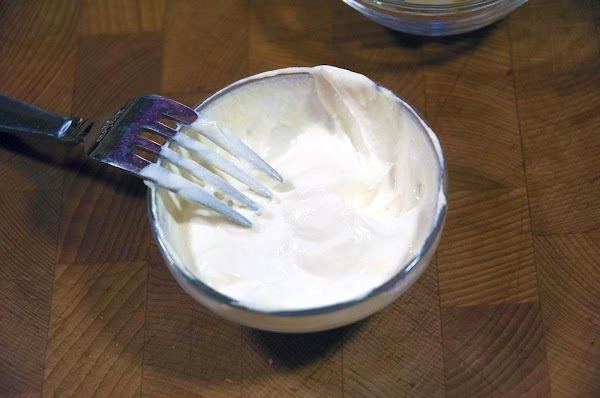 Mix the sour cream and dijon mustard together in a small bowl, and reserve.