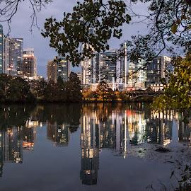 Austin at Night by Anatoliy Kosterev - City,  Street & Park  Night ( city, night, cityscape, water, lights )
