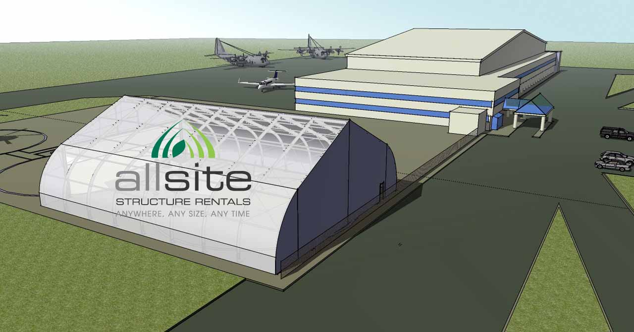 Graphic depiction of Allsite fabric aircraft hangar used as adjunct to traditional airline facility on airport tarmac