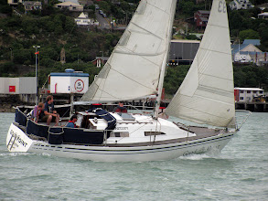 Photo: Good Point, Port Tack, close hauled,  racing on a Wednesday night, Lyttelton Harbour. Phil at the tiller, 1st place on handicap that night. We won a bottle of rum!