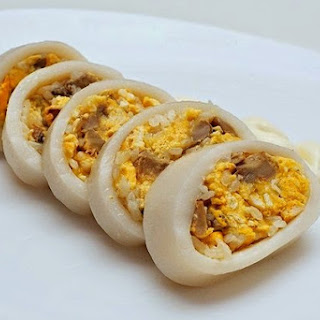 Squid Stuffed With Egg And Mushrooms