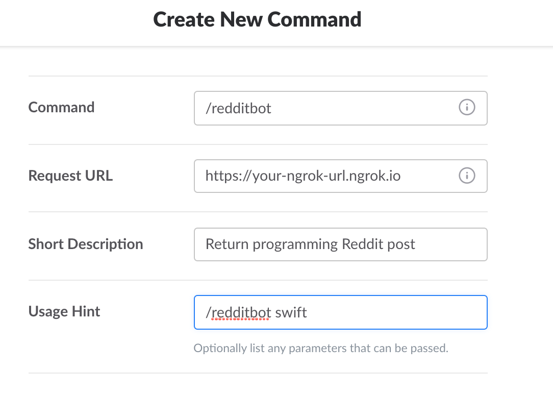 Create New Command page