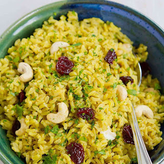 Turmeric Rice with Cashews & Dried Cherries.