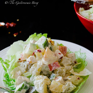 Potato Salad with Chicken, Apple and Pineapple.
