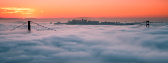 Photo: Twin Peaks  A pano view of a sunrise over San Francisco. This was taken a while back and I almost forgot I had it. I know this is a popular place to shoot and after being there to witness this view I totally get why people get up early and crowd this area. It is a beautiful scene. The fog is like a soft blanket that rolls in to caress the city.  Prints available:http://bit.ly/1oK9avz   #sanfrancisco  #goldengatebridge  #sunrise