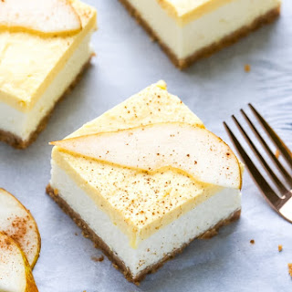 Pear Mousse Cheesecake Bars.