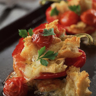 Ciabatta Stuffed Peppers with Tomato and Mozzarella