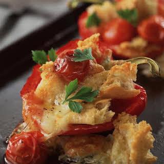 Ciabatta Stuffed Peppers with Tomato and Mozzarella.