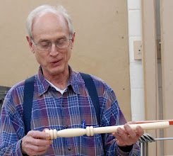 Photo: Paul Mazzi shows some great skew work on his hickory mallet handle.