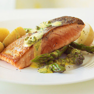 Crispy Skinned Salmon With Lemon, Dill And Caper Sauce.