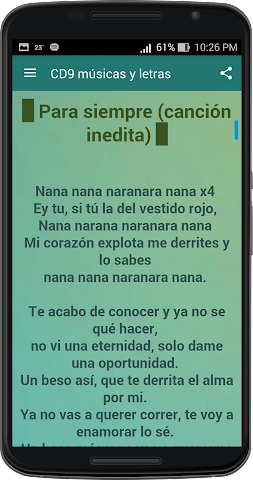 android CD9 musicas y letras Screenshot 1