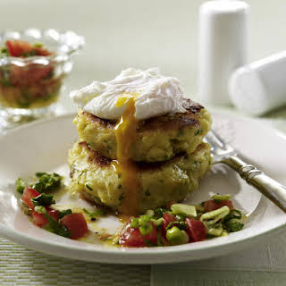 Potato Pancakes with Poached Eggs and Salsa.