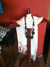Photo: Inga Alpaca's scarf in a gallery in Quito.