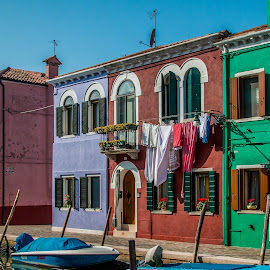 by Mario Horvat - City,  Street & Park  Street Scenes ( red, touristic, italia, blue, green, boats, burano, architecture, travel, canal, italy )
