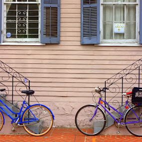 Two's company by Jason Arand - Artistic Objects Other Objects ( colorful, bikes, street art, fine art, windows, pink, steps )
